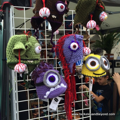 BERKELEY-Annual Events-Solano Stroll-crocheted monster hats-c2015 Carole Terwilliger Meyers-iPhone-400pix