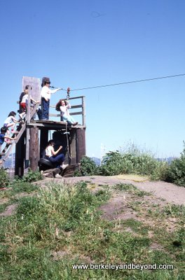 Berkeley-Adventure Playground-S+D on trolley-c1986 Carole Terwilliger Meyers-400pix