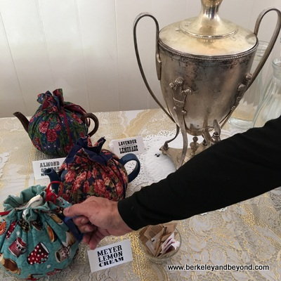 COLUMBIA SHP-Columbia Kate's Teahouse-teapots in cozies-c2016 Carole Terwilliger Meyers-400pix