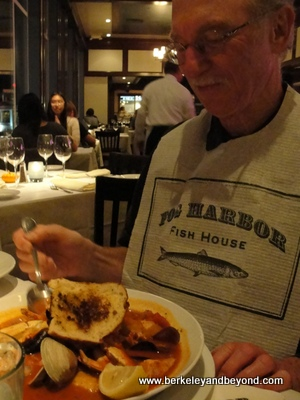 SF-Pier39-Fog Harbor Fish House-cioppino+Gene-11-13-400pix(c2013CaroleTerwilligerMeyers)
