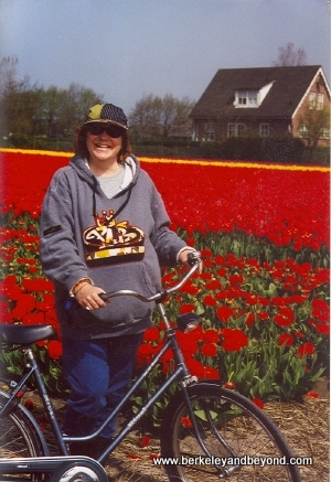 Holland-Carole on bike in flower fields-sml-300pix