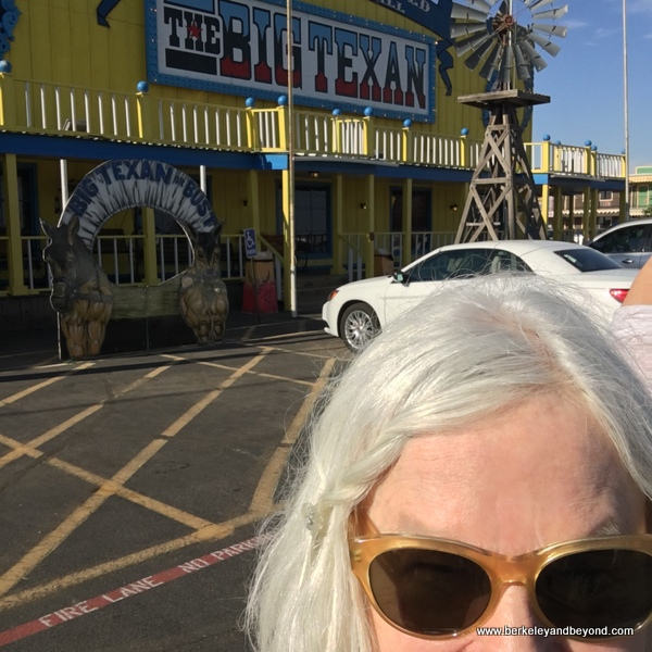 TEXAS-AMARILLO-Big Texan Steak Ranch-exterior+Carole-selfie 1-c2018 Carole Terwilliger Meyers