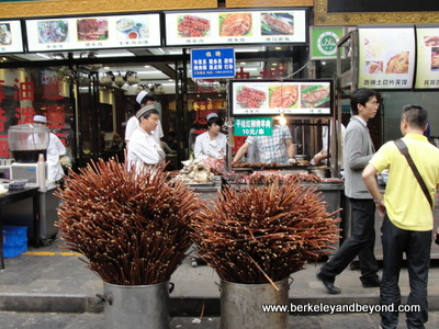 CHINA-XI'AN-Muslim Quarter-food vendor 8-sticks for kababs-c 2015 Carole Terwilliger Meyers-400pix